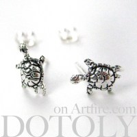 Sterling Silver - Turtle Animal Stud Earrings in Silver ...