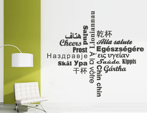 cheers wall art text in different languages sticker on storenvy