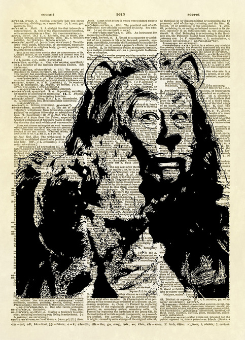 Wizard of Oz Cowardly Lion Dictionary Art Print Altered