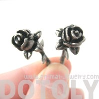 Rose Flower Shaped Fake Gauge Plug Stud Earrings in Silver ...