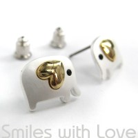 Small Elephant Stud Earrings in Silver with Gold Heart ...