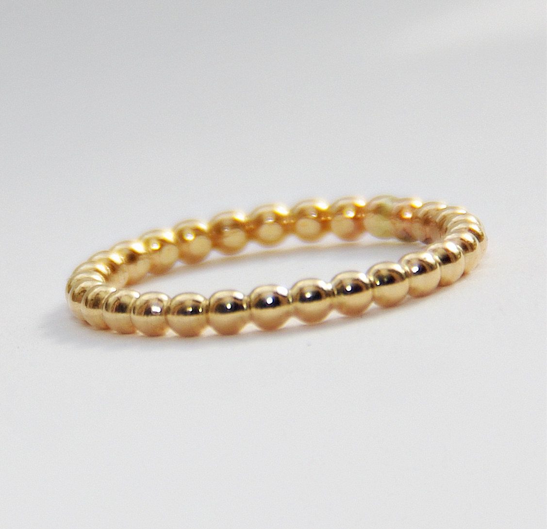 2mm BOLD Yellow Gold Filled Beaded Ring