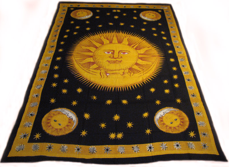 72 sofa cover casual table celestial sun and moon stars 100% cotton hippie tapestry ...