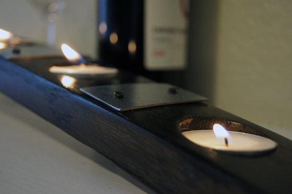 7 Tea Light Wine Barrel Candle Holder with 4 Barrel Straps