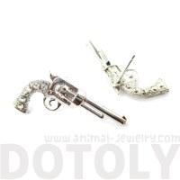 Realistic Gun Revolver Shaped Rhinestone Stud Earrings in