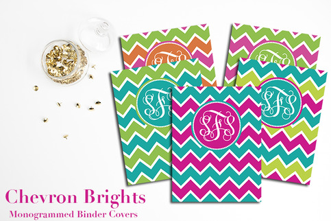Personalized Monogram Chevron Brights Binder Covers and