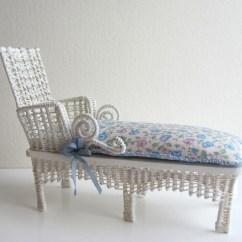 White Chaise Lounge Chair Walmart Big Joe Chairs Cottage Chic Wicker 1 12 Miniature