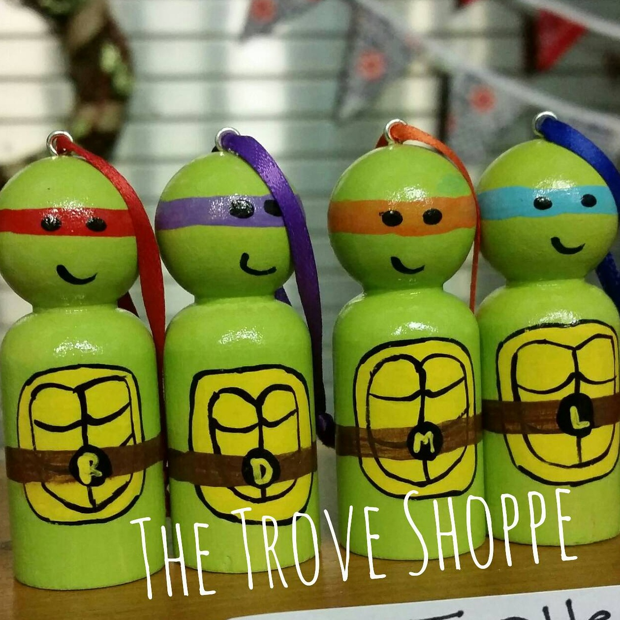 ninja turtle chair toys r us wedding covers hire oxfordshire hand painted peg doll ornaments set of 4