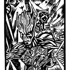 Kitchen Gadgets Store Delta Pull Down Faucet Rocket Raccoon & Groot - Woodcut Relief Print On Storenvy