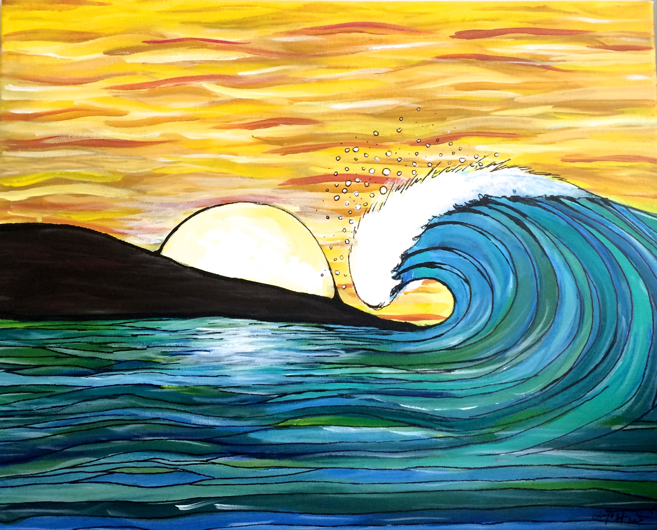 sunset wave painting from