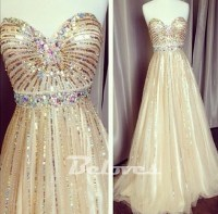 2015 Champagne Sweetheart Sequined A Line Prom Dress ...