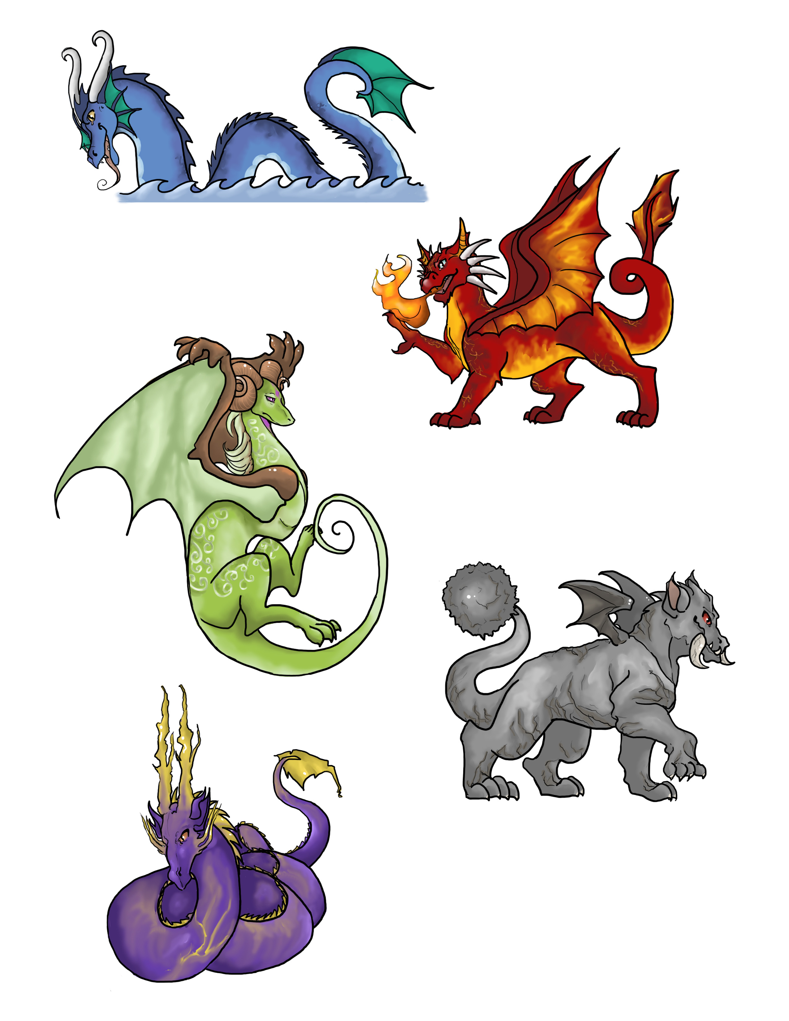 elemental dragon stickers from