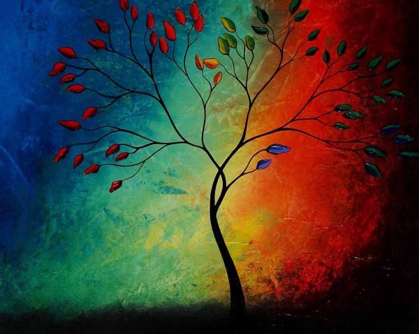 Rainbow Abstract Tree Paintings