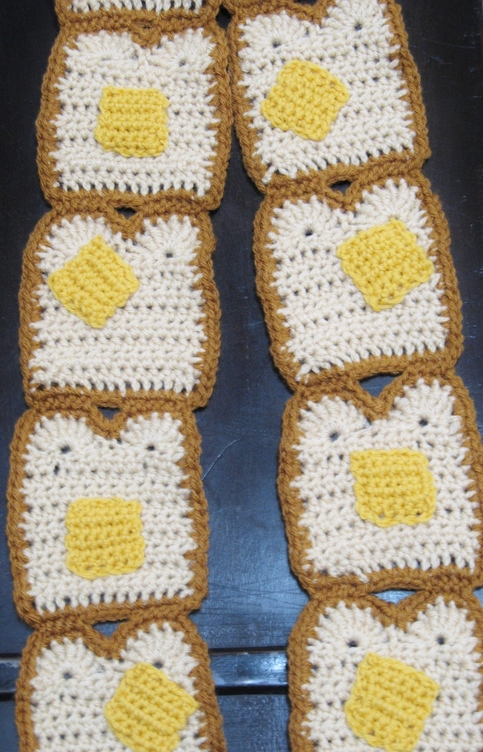 Buttered Toast Scarf Bread And Butter Breakfast Crocheted