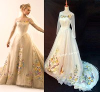 P305 Movie Costume Cinderella 2015 ivory gown wedding