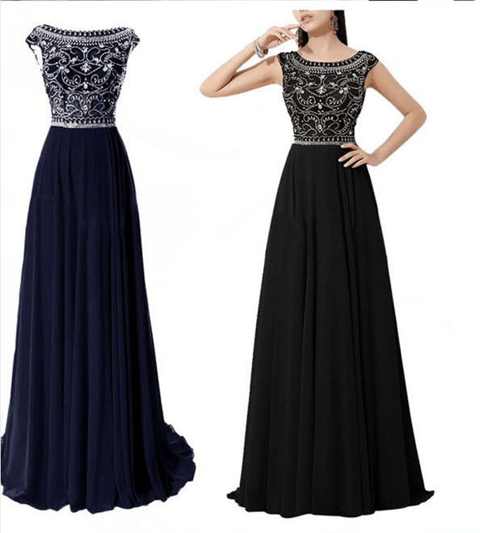 Dramatic Vintage Cap Sleeves Navy Blue Long Prom Dresses
