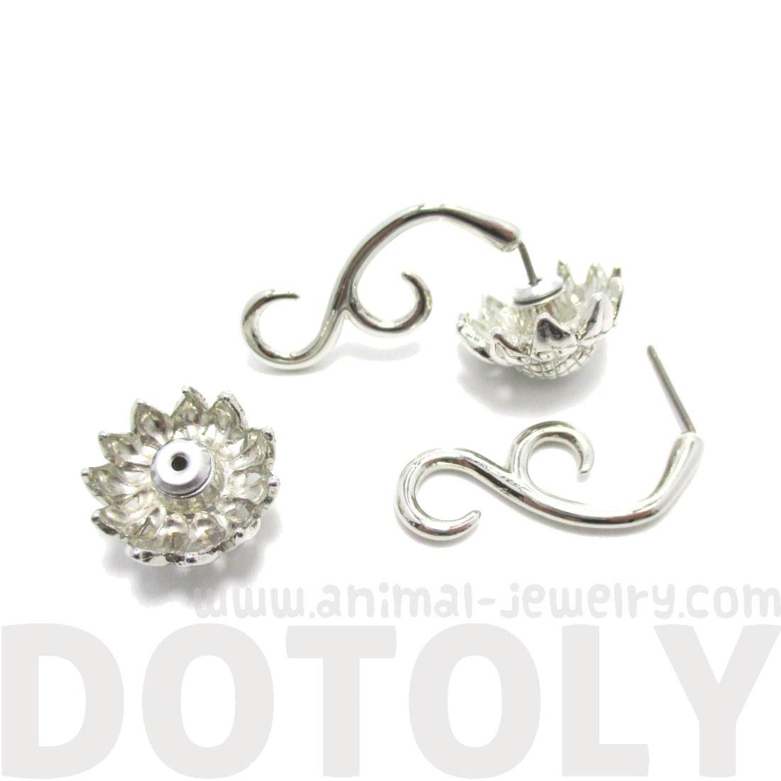 Sunflower Flower Shaped Fake Gauge Plug Stud Earrings in