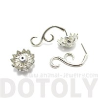 Sunflower Flower Shaped Fake Gauge Plug Stud Earrings in