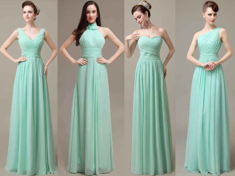 Mint Bridesmaid Dresses, Cheap Bridesmaid Dresses, Chiffon