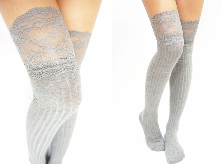 a5d13d2eaab16 Thigh Lace Knit Knee High Socks Boot Socks Light Grey