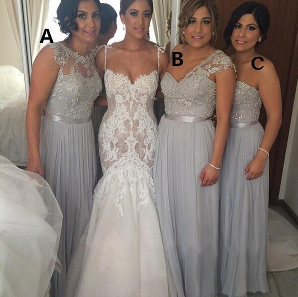 Chiffon bridesmaid dresses, mismatched bridesmaid dresses
