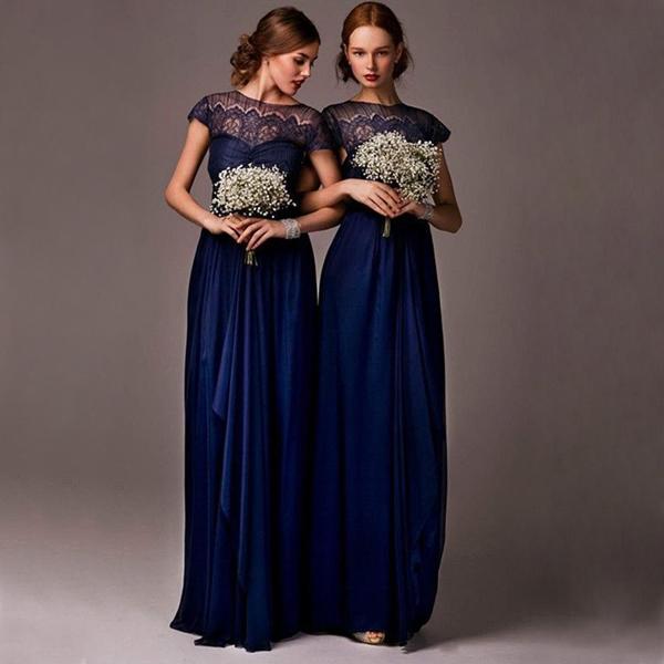 Long Bridesmaid Dress, navy blue Bridesmaid Dress, lace