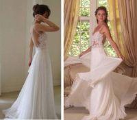 White A-line Chiffon Lace Backless Long Prom Dresses ...