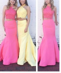 Lovely Prom Dresses,Halter Lace Top Mermaid Prom Dress Two ...