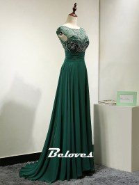 2016 Dark Green Cap Sleeves Chiffon Prom Dress With Beaded ...
