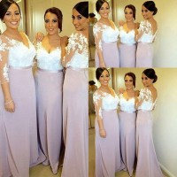 Two Toned Bridesmaid Dress with 3-D Flowers, V-neck Lace ...