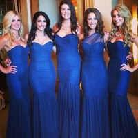 Royal Blue Bridesmaid Dress with Ruching Detail, Trumpet ...