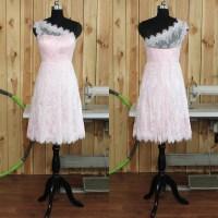 One Shoulder Lace Bridesmaid Dresses, Short Pink ...