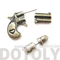 3D Fake Gauge Realistic Gun and Bullet Shaped Stud