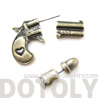 3D Fake Gauge Realistic Gun and Bullet Shaped Stud ...