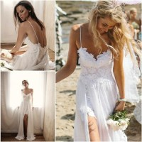 WD04 Beach Wedding Dresses,Lace Backless Summer Bridal ...