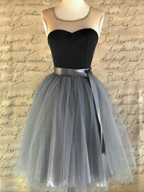 Black Homecoming DressA Line Scoop Knee Length Tulle