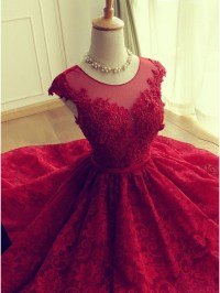 Solo Dress Cute Red Knee-length Red Short Lace Christmas ...