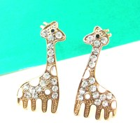 Large Giraffe Animal Stud Earrings in Gold with White ...