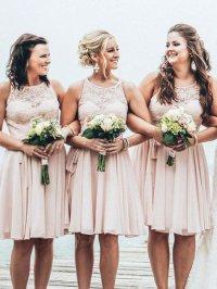 Short bridesmaid dress,lace bridesmaid dress,summer beach ...