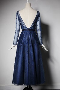 Tea Length Navy Prom dress, Party Dress With Long Sleeves ...