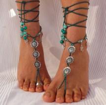 Silver Flower Barefoot Sandals Emerald Green - Foot