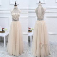 Gorgeous Champagne 2-Piece Tulle Long Prom Dress, Two ...