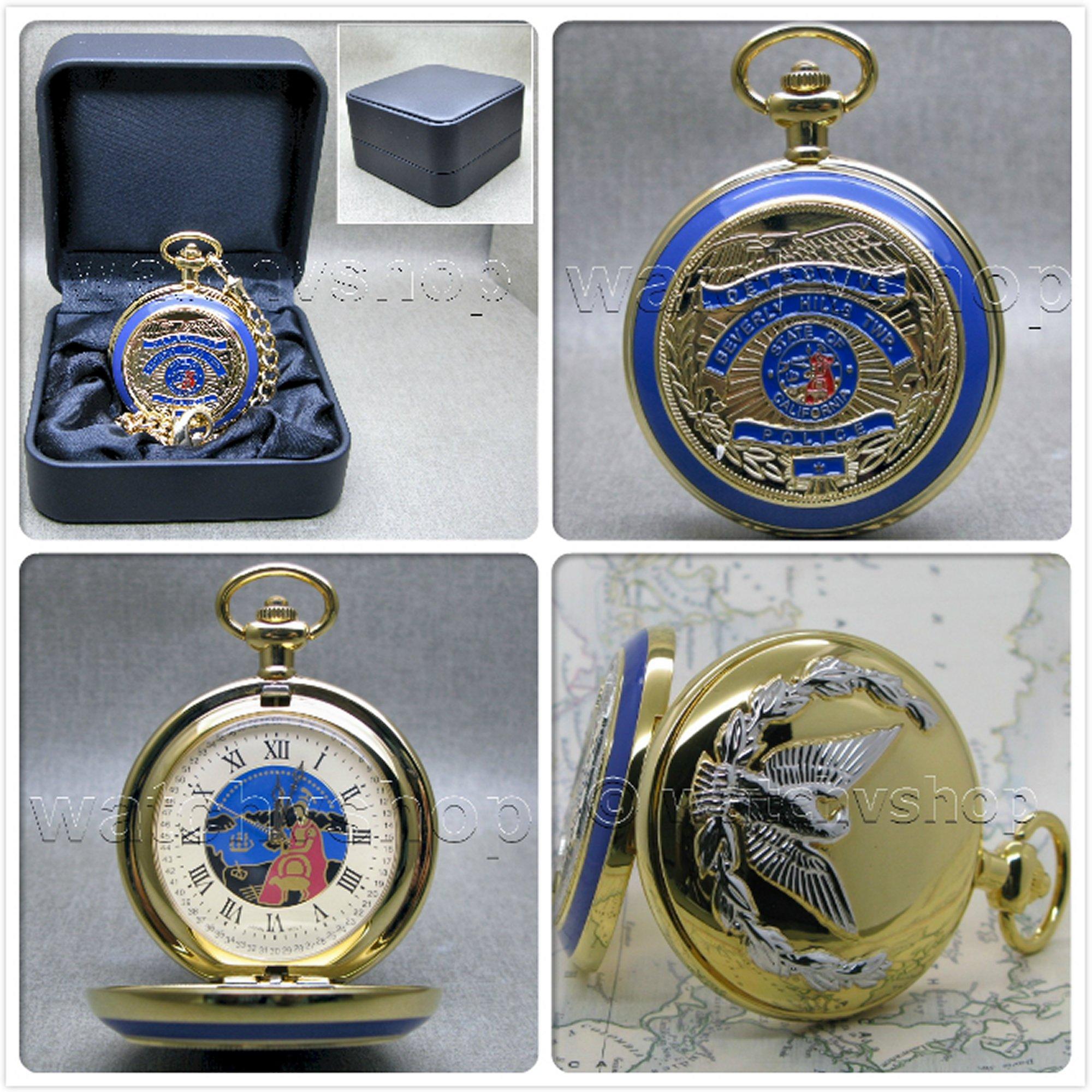 Gold Antique Us Police Badge Mens Quartz Pocket Watch Fob Chain T Box C45b On Storenvy