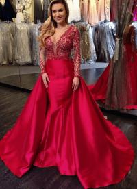 V-Neck Luxury Red Beading Mermaid Long-Sleeves Open-Back ...