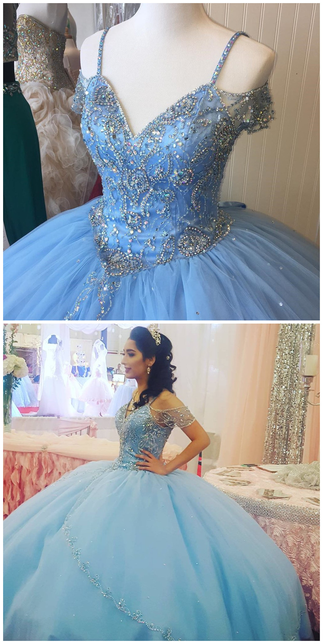 Cheap prom dresses  Sparkly Beading Bodice Blue