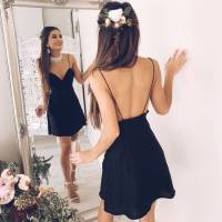 Simple black backless short prom dress, black homecoming ...