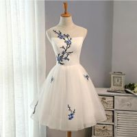 White Short Homecoming Dress with Embroidery Knee Length ...