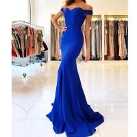 2018 Royal Blue Off The Shoulder Prom Dress,Mermaid Formal