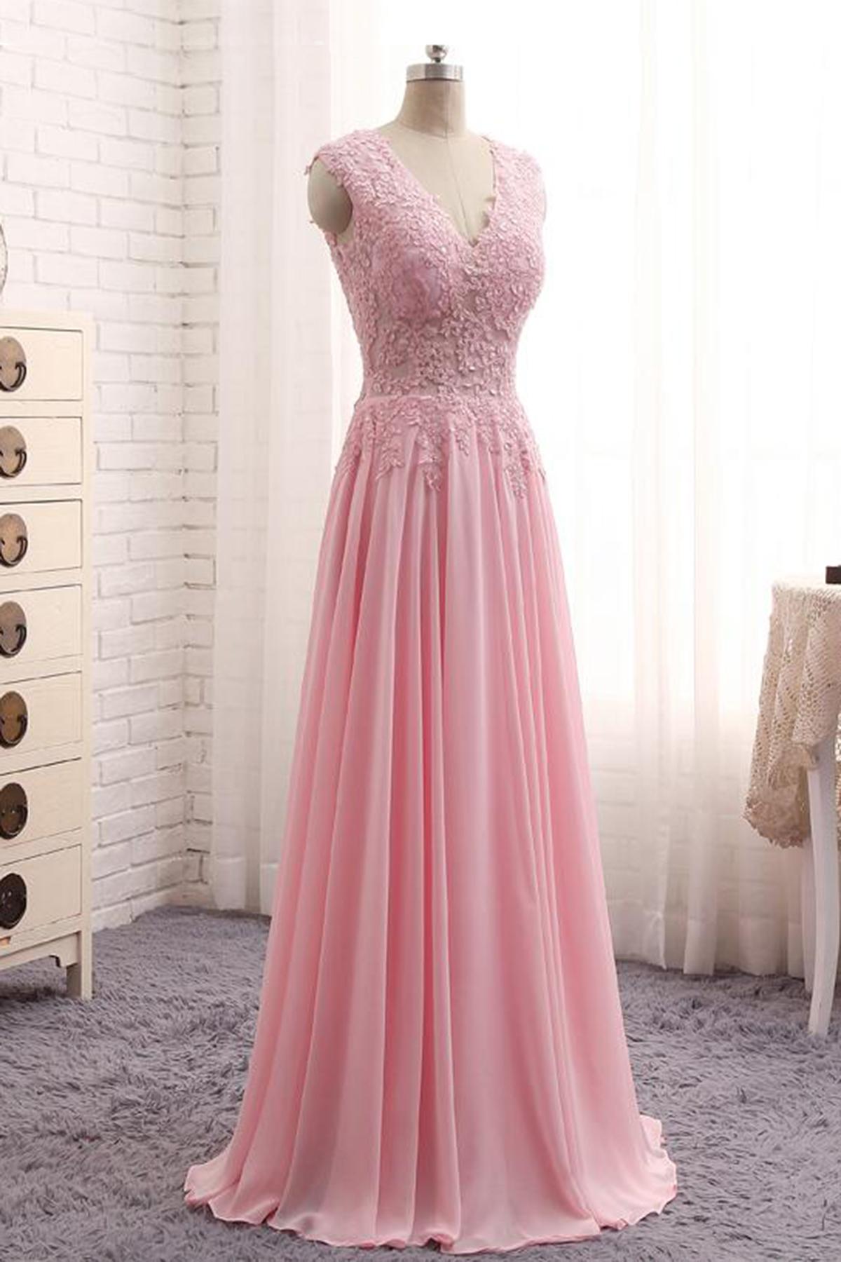 Cheap Prom Dresses by SweetheartDress  Elegant pink lace long Aline senior prom dress pink