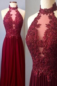 Burgundy chiffon long prom dresses lace appliques sexy ...